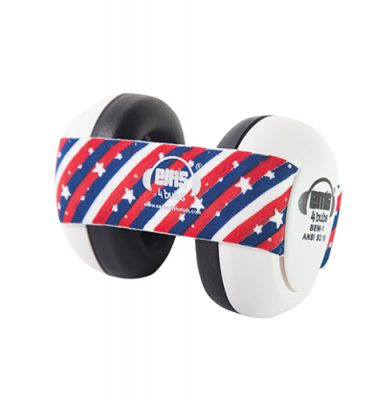 White Ems for Bubs Baby Earmuffs - Stars n' Stripes