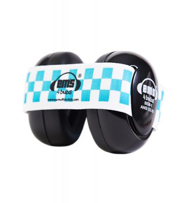 Black Ems for Bubs Baby Earmuffs - Blue/White